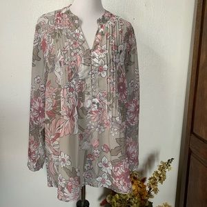 Coldwater Creek Beige Floral Long Sleeve Blouse 2X